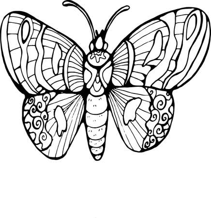Illustration with butterfly, graphic style. Flying and cosmic inspiration. Иллюстрация