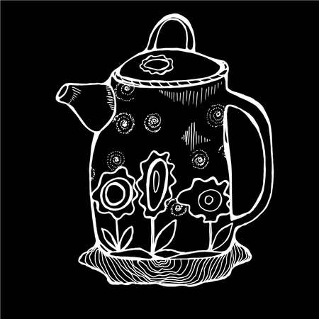 Illustration of a retro minimalist style teapot decorated with flowers.