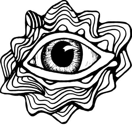 Black and white drawing of the eye, inscribed in a circle of pattern and mountains. Good idea for a tattoo.