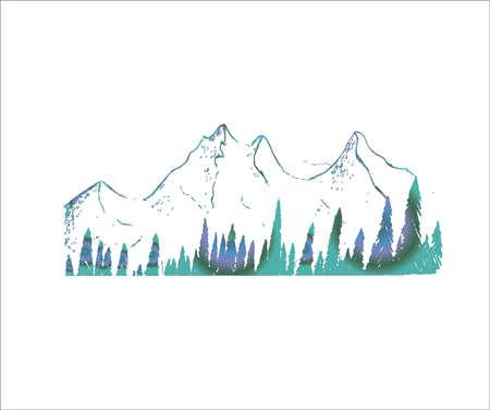 Neon illustration of mountains and trees. Tattoo idea.