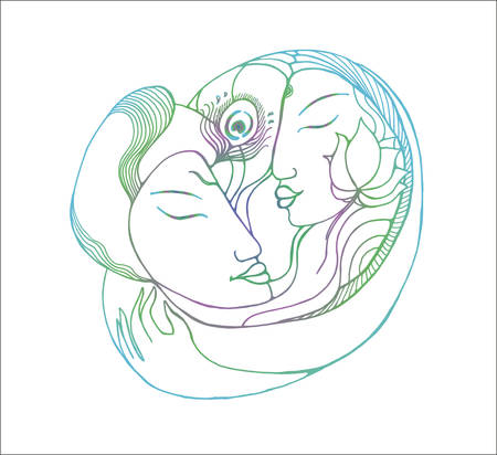Gradient picture of a couple. Gradient illustration natural love Zdjęcie Seryjne - 140347026