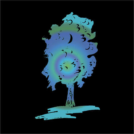 Gradient illustration of a tree and ohm in it. Ilustrace