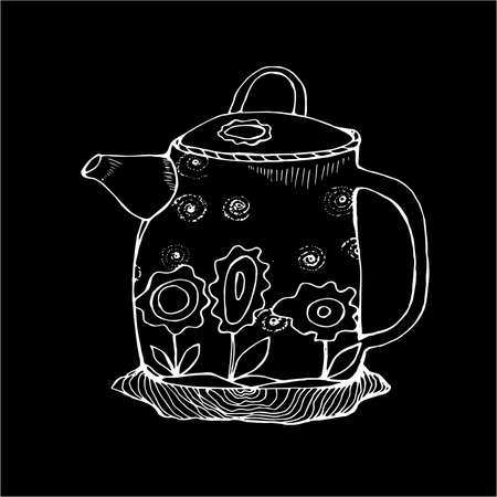 Black white illustration of a flower decorated teapot in the old style. Chalk on a blackboard.