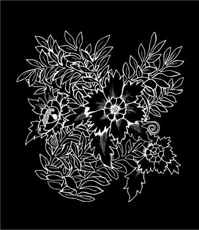 Illustration of a bouquet of flowers. Black and white bouquet