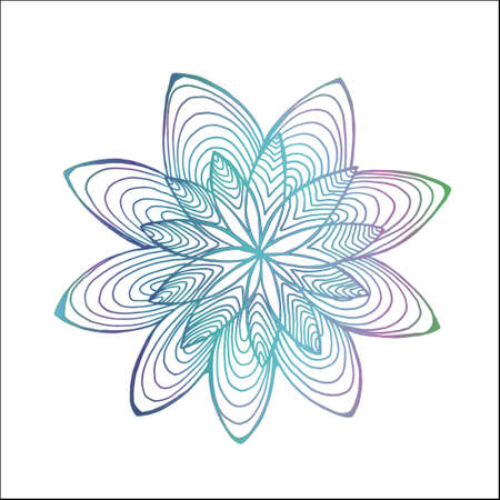Color abstract flower pattern. Psychedelic mandala motive. Ilustrace