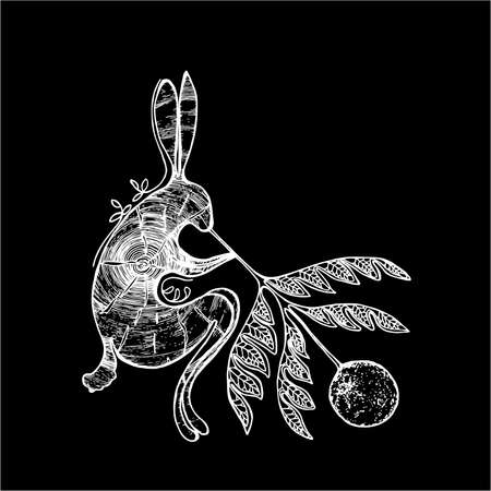 Black-white illustration of a rabbit that blows the moon through a twig of a plant with a pattern. Tattoo idea.