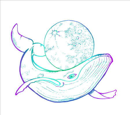 Color drawing of a whale and a moon. Dotwork style. Ilustrace