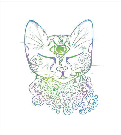 An illustration of a psychedelic cat. Neon drawing of a cat.