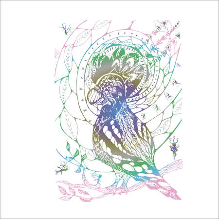 Neon illustration with abstract pattern, psychedelic bird and meditating people.