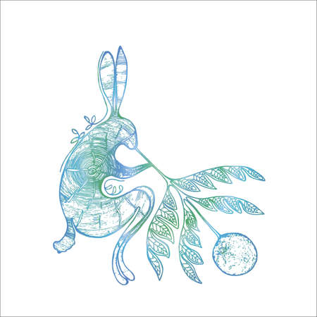 Neon gradient illustration of a rabbit that blows the moon through a twig of a plant with a pattern. Tattoo idea.