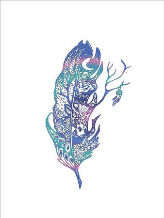 Neon illustration with stylized feather with deer, night sky, tree and dream catcher.