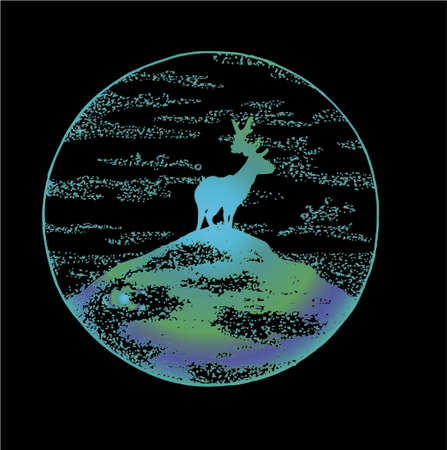 Neon color deer on the mountain in the style of dotwork