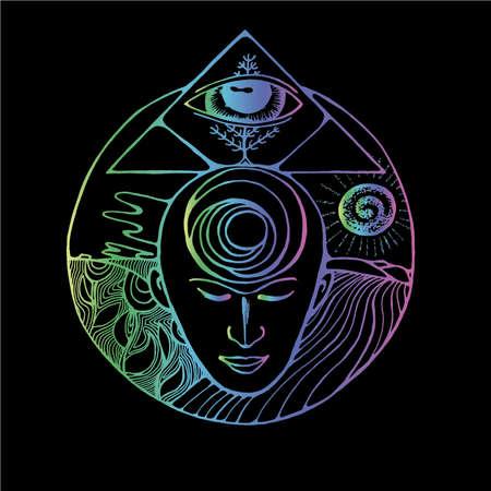 Neon illustration of a meditating man, masonic triangle, eye and receding horizon. Ilustrace