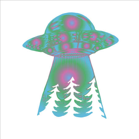 Neon illustration of a spaceship. Alien ship and forest. Idea for tattoo. Ilustrace