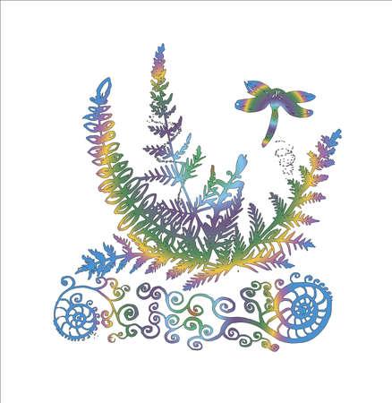 Illustration of a dragonfly on a fern. Tattoo idea.