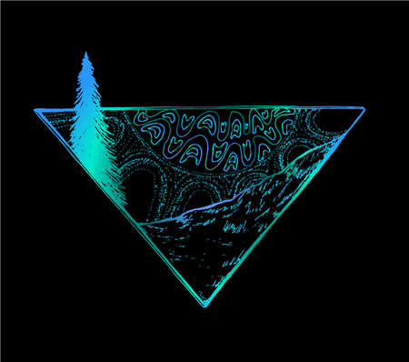 Neon picture of rays of a sun by a decorative pattern, slope of mountain and fir-tree. All of it in a triangle.