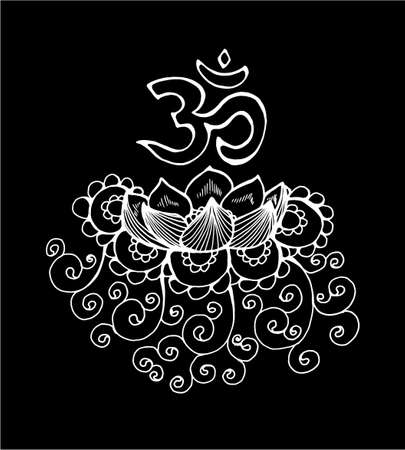 Black and white loBlack and white lotus illustration. Pattern, om and flowertus illustration. Pattern, om and flower