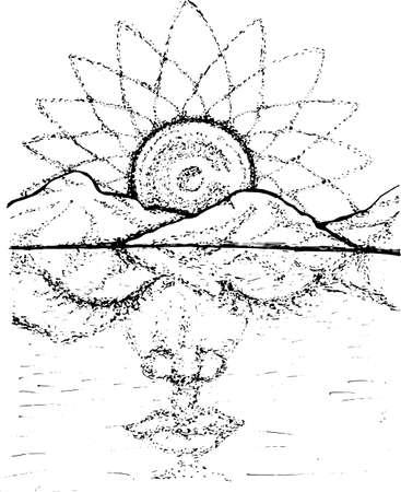 Illustration of a meditative face with an ornamental moon mandala.