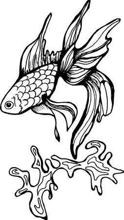 Illustration in the form of a cockerel and sea wave.