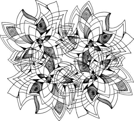 Black-white picture of a mandala flower with patterns, ornaments, an idea for a tattoo.