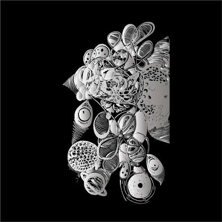 Black and white illustration of psychedelic travel, Eyes, planets, patterns, waves. Chalk on a blackboard Vektoros illusztráció