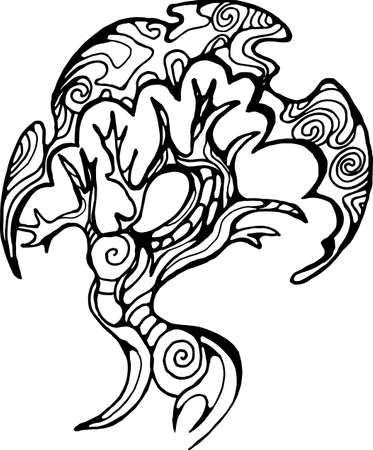 Illustration of a bud walking tree on the roots. Tree of life with spiral ornament.