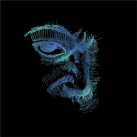 Neon illustration of eye, nose, frowning eyebrow technique.