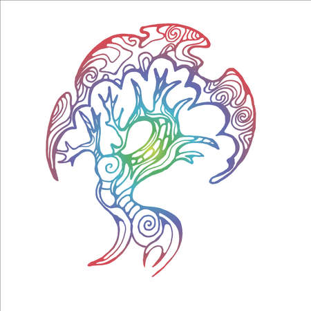 Neon illustration of a bud walking tree on the roots. Tree of life with ornament.