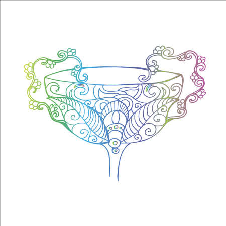 Neon illustration of a bowl in ancient style. Ornament on the bowl.