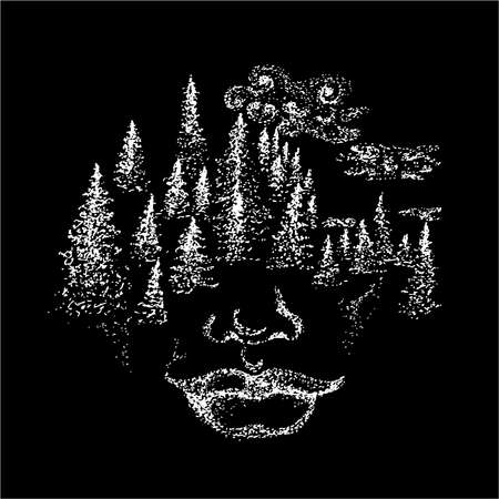 Black and white picture of the face of the spirit. Trees and clouds on the face.