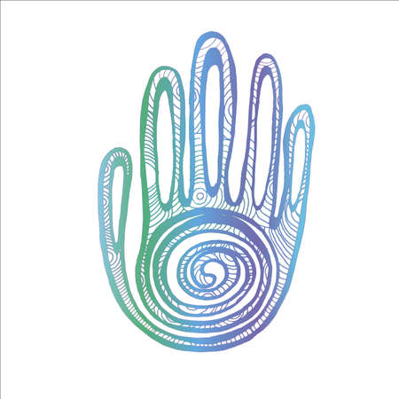 Neon illustration Palm with spiral ornament. The idea for a tattoo.