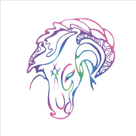 Horse head illustration. Gradient neon grace and beauty.