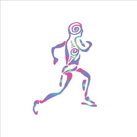 Illustration of a running man with a spiral ornament. Healthy lifestyle. Illustration