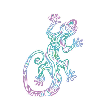 Illustration of a lizard with an ornament inside. Ancient reptile.