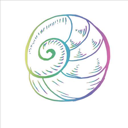 Color neon sea animal drawing. Ancient marine spiral. Tattoo idea. Illustration