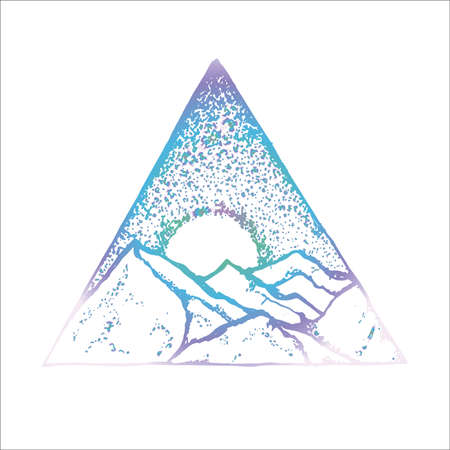 Neon illustration of mountains, moon and starry sky inscribed in a triangle. The idea for a tattoo.