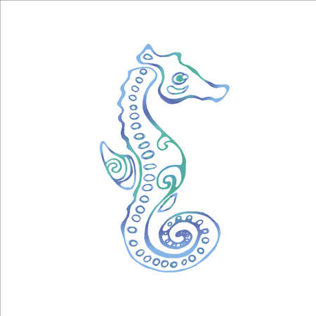 Color illustration of a sea animal. Sea Horse.