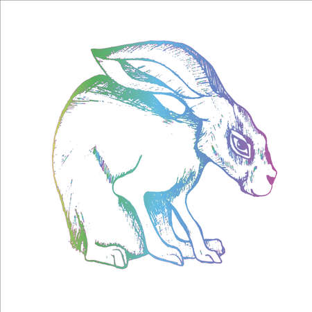 Neon gradient illustration of a hare in the hatching style. Good animal. Illustration