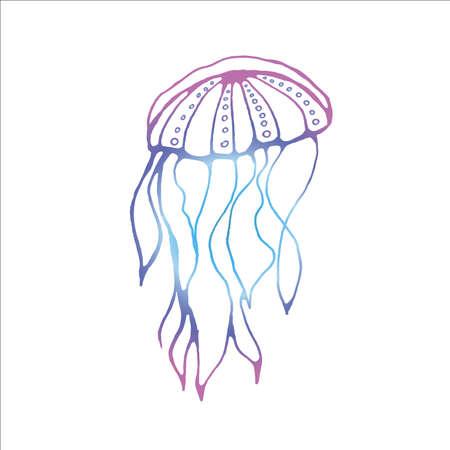 Neon illustration of a translucent animal. Jellyfish is a poisonous animal. Illustration