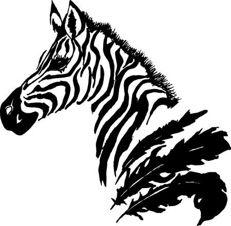 Black white picture of a psychedelic zebra with feathers. Tattoo idea.