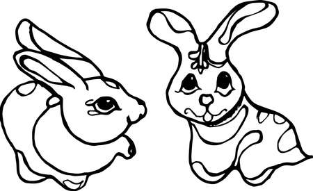 Black-white picture of two rabbits in love. Chinese rabbits. Tattoo idea. Illustration