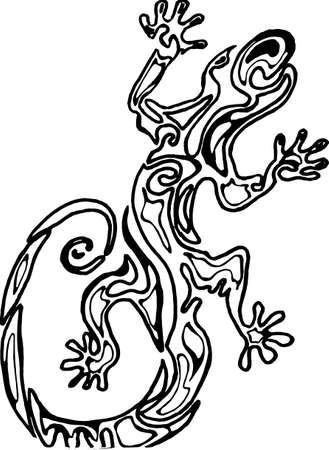 Illustration of a lizard with an ornament inside. Illustration