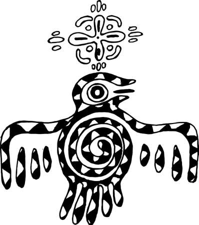 Tribal style bird illustration with ornament and mandala.