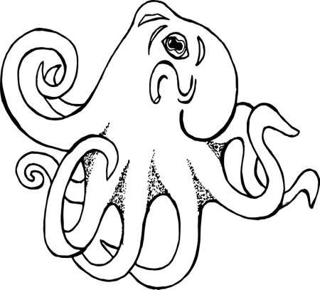 Black white illustration of an octopus. Tattoo idea Illustration