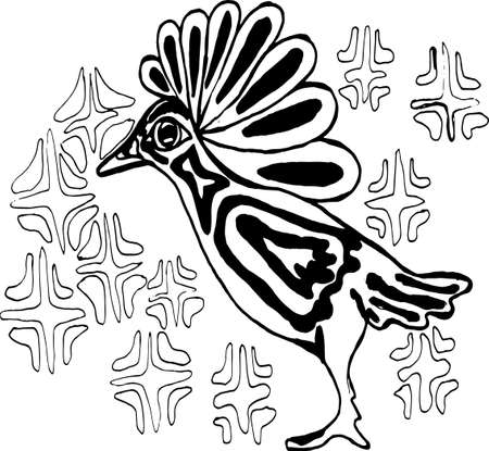 Illustration of a bird in profile with a background from an ornament. Illustration