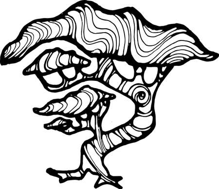 Illustration of a running tree with a spiral ornament. The roots like a leg. Illustration