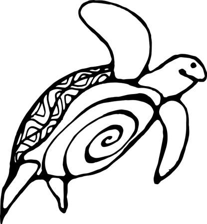 Illustration of a wise tortoise. Swimming turtle in motion with ornament pattern.