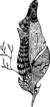 Black white illustration of psychedelic feathers with abstract patterns of animal skin, tree branch, leaves.