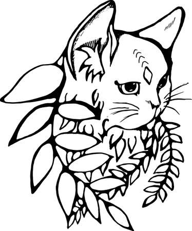 Illustration of a cat in profile with a third eye. Cat and plant. The idea for a tattoo.