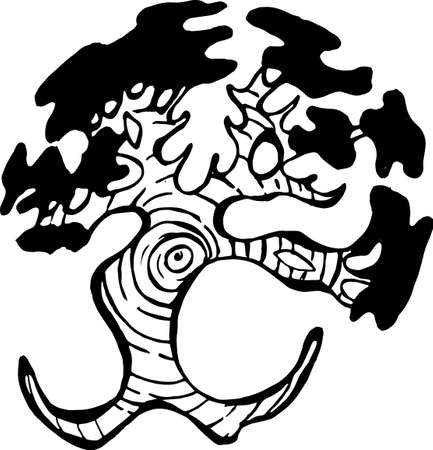 Illustration of a running tree with a spiral ornament.